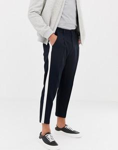 Темно-синие зауженные брюки с полосками по бокам Jack & Jones-Темно-синий