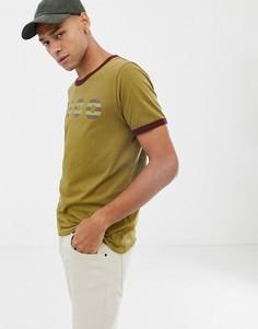 Футболка цвета хаки с логотипом Nudie Jeans Co Kurt-Зеленый