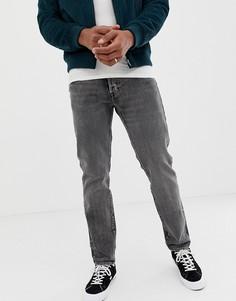 Суженные книзу джинсы слим с большой нашивкой сзади Levis 501-Темно-синий