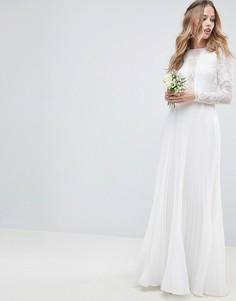 Свадебное платье макси с кружевным лифом, длинными рукавами и плиссированной юбкой ASOS EDITION-Кремовый