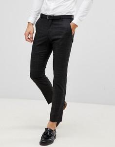 Черные узкие брюки в крапинку Selected Homme-Черный
