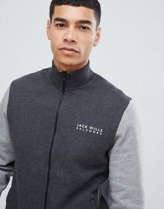 Темно-серая спортивная куртка в стиле колор блок на молнии Jack Wills Barnsley-Серый
