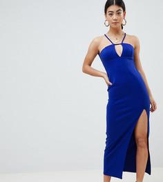 Платье макси с кружевной отделкой на спине ASOS DESIGN Petite-Синий