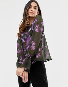 Блузка с цветочным принтом и оборками на рукавах Y.A.S-Мульти