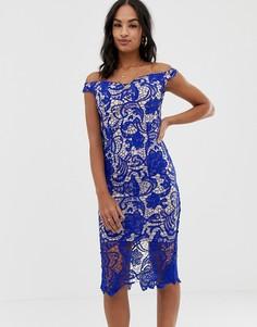 Кружевное платье миди со спущенными плечами Missguided-Синий