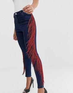 Темные джинсы скинни с завышенной талией и бахромой по бокам ASOS DESIGN-Синий