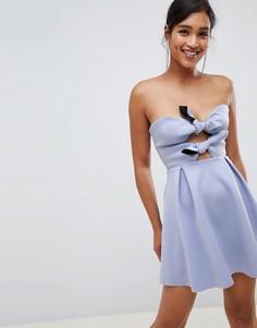 Короткое приталенное платье с узелком ASOS DESIGN-Синий