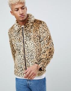 Куртка из искусственного меха с леопардовым принтом ASOS DESIGN-Светло-коричневый