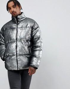 Дутая серебристая куртка с пайетками ASOS DESIGN-Серебряный