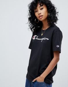 Oversize-футболка с логотипом спереди и изнаночной отделкой Champion-Черный