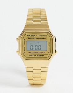 Золотистые цифровые часы Casio A168WG-9EF-Золотой