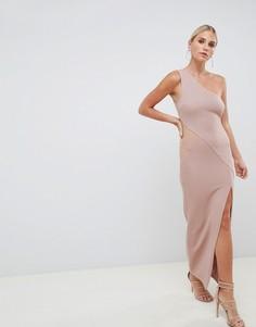 Платье макси в рубчик на одно плечо с сетчатыми вставками ASOS DESIGN-Розовый