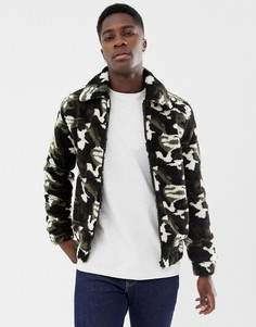 Флисовая куртка на молнии с камуфляжным принтом Another Influence-Зеленый