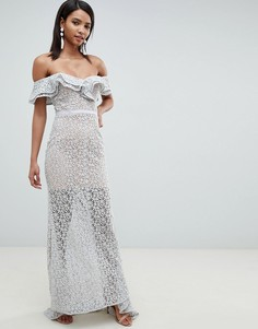 Серое кружевное платье макси с открытыми плечами и оборками Jarlo-Серый