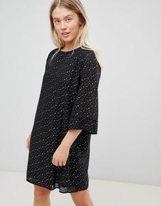 Свободное платье в горошек Moves By Minimum-Черный
