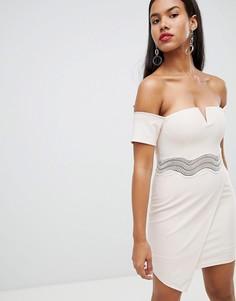Асимметричное платье мини с широким вырезом Rare London-Кремовый