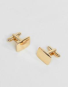 Квадратные золотистые запонки ASOS DESIGN-Золотой