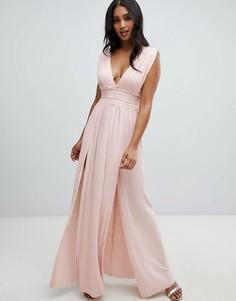 Платье макси с плиссировкой и кружевом ASOS DESIGN Premium-Розовый