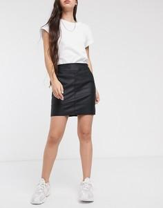 Черная мини-юбка из искусственной кожи из полиуретана Only-Черный