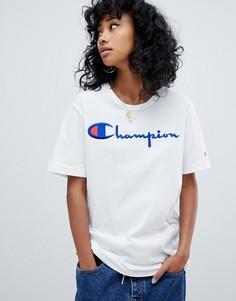 Oversize-футболка с логотипом спереди и изнаночной отделкой Champion-Белый
