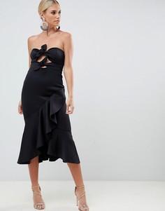 Платье-бандо миди с узелком ASOS DESIGN-Черный