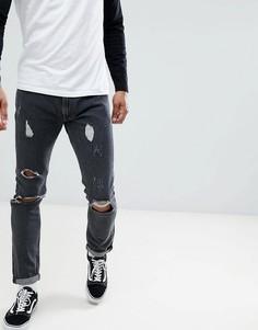Выбеленные черные джинсы скинни Lee luke-Синий