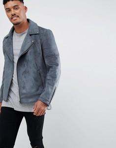 Серая байкерская куртка из искусственной замши ASOS DESIGN-Серый