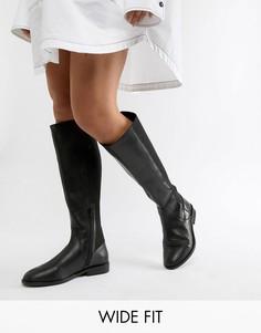 Высокие кожаные сапоги для широкой стопы ASOS DESIGN cadence-Черный