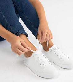 Белые кроссовки на шнуровке для широкой стопы ASOS DESIGN - Dustin-Белый