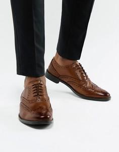 Светло-коричневые оксфордские туфли-броги из кожи ASOS DESIGN-Светло-коричневый