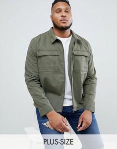 Куртка-рубашка на молнии с карманами Another Influence PLUS-Зеленый