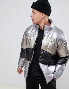 Серебристая свободная дутая куртка металлик ASOS DESIGN-Серебряный