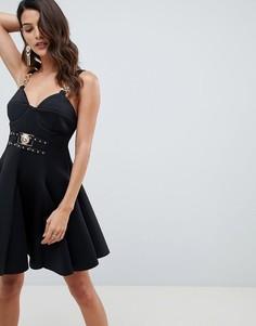 Короткое приталенное платье с отделкой ASOS DESIGN-Мульти