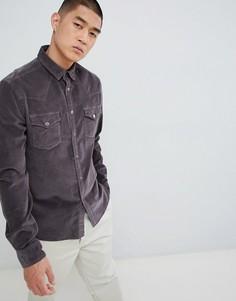 Выбеленная черная вельветовая рубашка узкого кроя в стиле вестерн с кнопками ASOS DESIGN-Черный