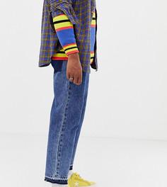 Выбеленные укороченные джинсы с необработанными краями COLLUSION x004-Синий