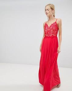Платье макси с плиссированной юбкой Little Mistress-Красный