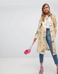 Виниловое пальто с цветочным принтом ASOS DESIGN-Мульти