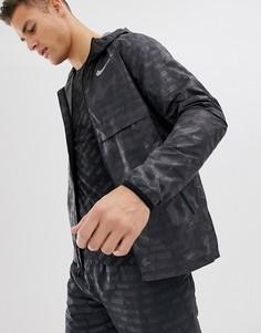 Черная куртка с камуфляжным принтом и светоотражающей отделкой Nike Running Just Do It AH5987-010-Черный