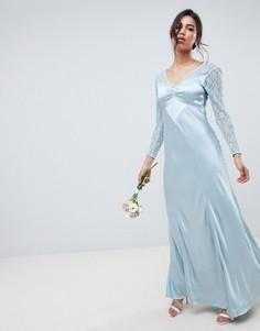 Платье макси с кружевными рукавами Ghost bridesmaid-Синий