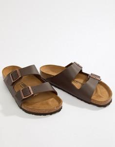 Темно-коричневые сандалии Birkenstock Arizona Birko-Flor-Коричневый