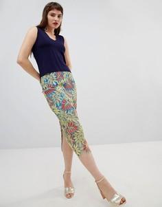 Кружевная юбка-карандаш с тропическим узором River Island-Зеленый