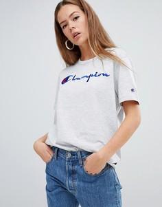 Oversize-футболка с логотипом спереди и изнаночной отделкой Champion-Серый