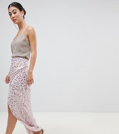 Декорированная юбка макси с запахом ASOS DESIGN Petite-Розовый