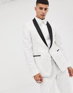 Облегающий пиджак-смокинг из белого сатина с пайетками и кружевом ASOS EDITION-Белый