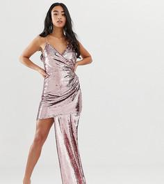 Платье мини на бретелях с пайетками и сборками ASOS DESIGN Petite-Розовый