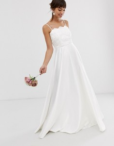 Кружевное свадебное платье на бретелях с вышивкой бисером и атласной юбкой ASOS EDITION-Белый