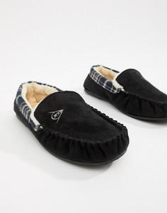 Слиперы из искусственной замши на меховой подкладке Dunlop-Черный