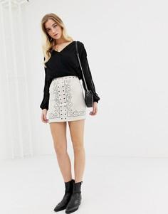 Мини-юбка с рисунком Glamorous-Светло-бежевый