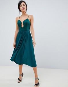 Платье миди с плиссировкой ASOS DESIGN-Зеленый