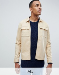 Саржевая куртка на молнии с карманами Another Influence TALL-Светло-коричневый